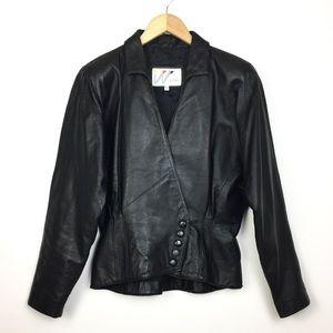 Vintage 1980's Wilsons Black Peplum Leather Jacket